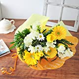 花由 選べる3色 チューリップ5本のおめでとうブーケ 花束 イエロー系 マケプレお急ぎ便