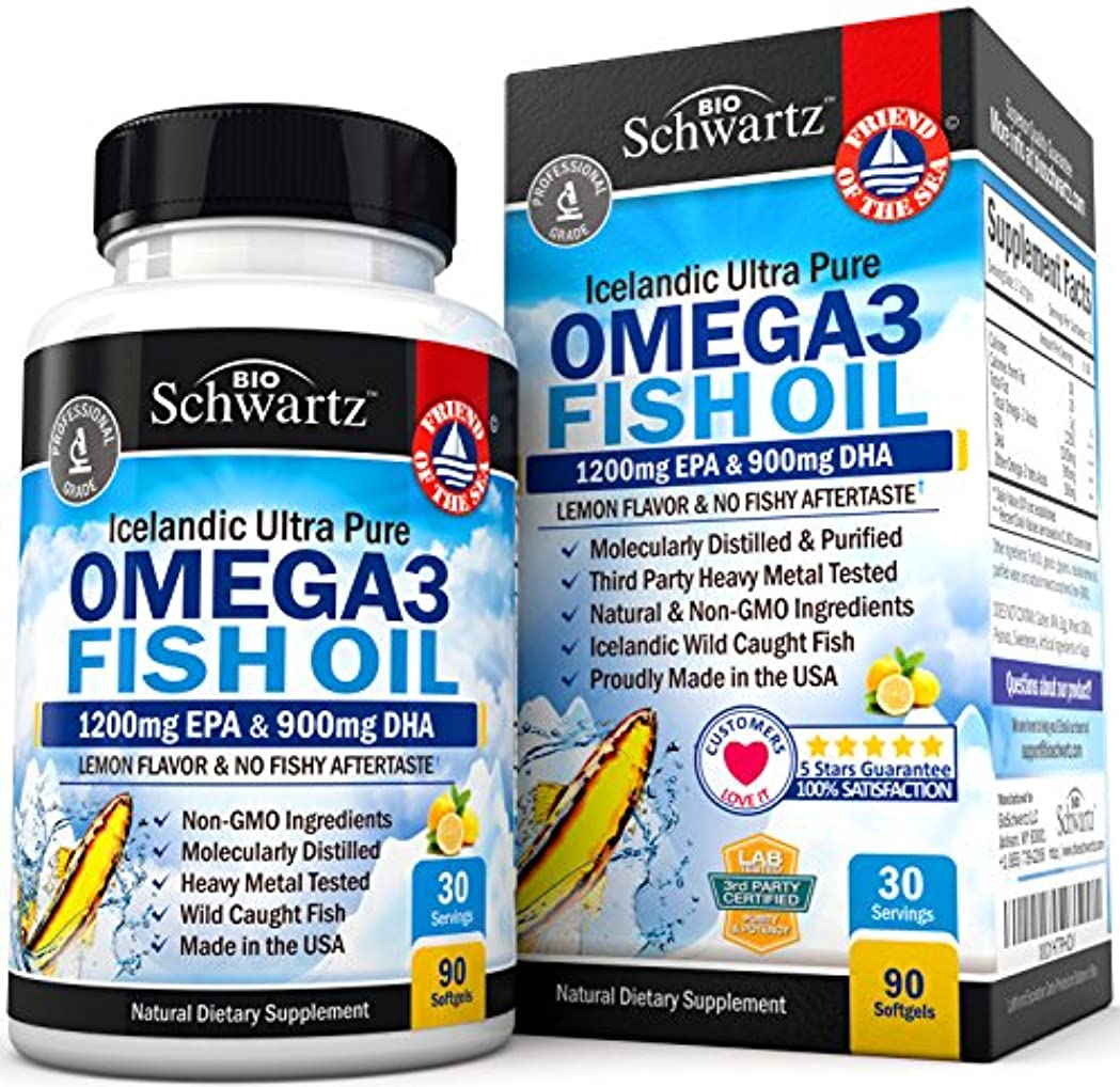 はっきりしない左ピカリングBioSchwartz Omega 3 Fish Oil Supplement with 1200mg EPA, 900mg DHA 90粒