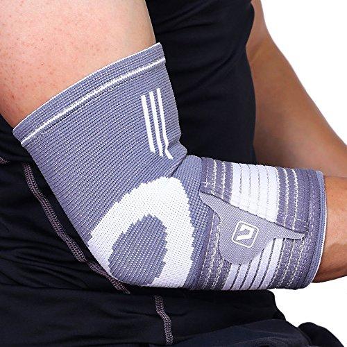 肘サポーター LiveupSports 肘サポート 肘固定 伸縮性 保温性 通気性 滑り止め 怪我防止 関節 靭帯 保護 アウトドア スポーツケア 左右兼用 単品