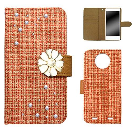 whitenuts Disney Mobile on docomo N-03E ケース 手帳型 ツィードデコ オレンジ カード収納 ストラップホール スタンド機能 WN-OD086588