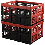 Hespapa 35 Quart Folding Crates, Red Plastic Collapsible Storage Container Milk Crate Baskets, 2 Pack