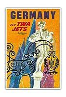 """ドイツ–Trans World Airlines Fly TWAジェッツ–Gansemannchen (Little goose-manニュルンベルクの泉)–ヴィンテージ航空旅行ポスターby David Klein c.1960s–マスターアートプリント 13"""" x 19"""" PRTC3191"""