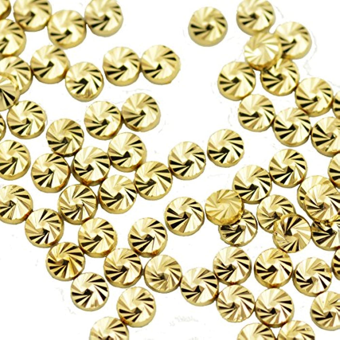 服マインドフル投げるBuddy Style ネイルパーツ デコパーツ スタッズ コインスタッズ ゴールド 1.8mm 20個