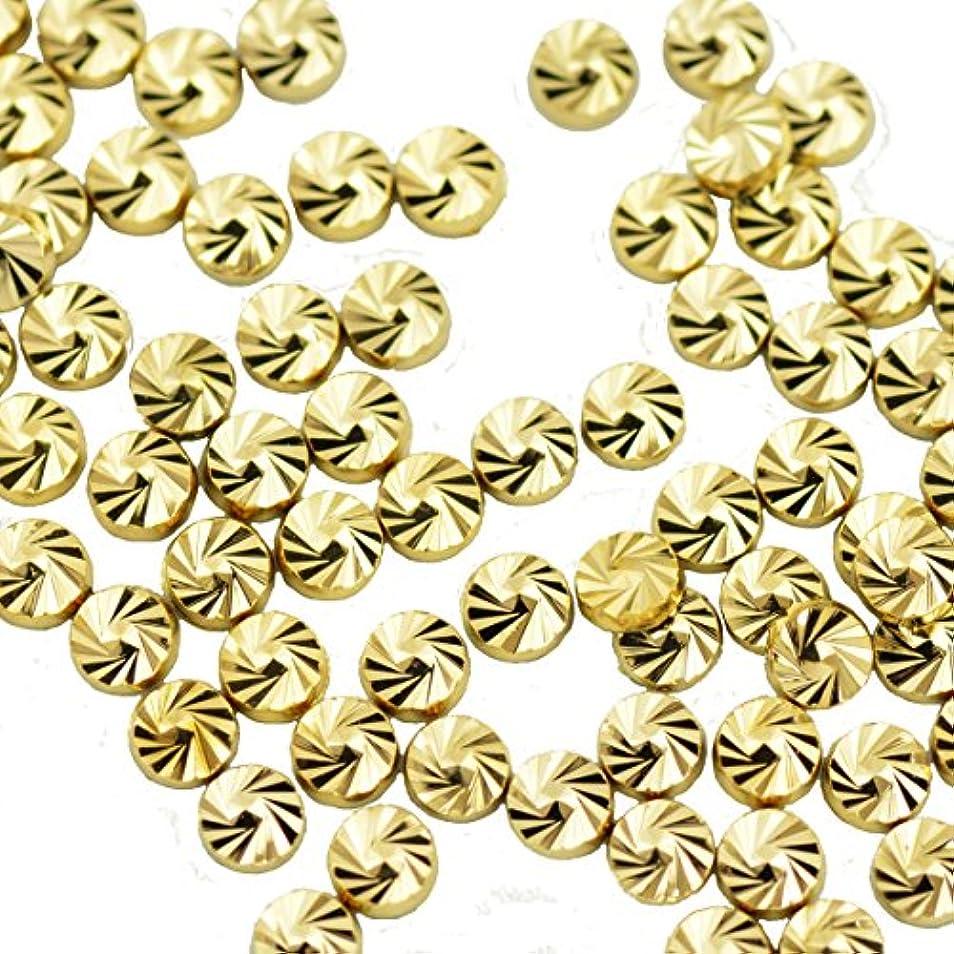 適応するバスおとうさんBuddy Style ネイルパーツ デコパーツ スタッズ コインスタッズ ゴールド 1.8mm 20個