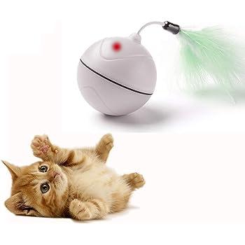 FIRIK (フィリク) 【改良版】猫おもちゃ LEDボール 光って電動 羽付き コロコロ 動くUSB充電式 トレーニング(ホワイト) 猫用 おもちゃ