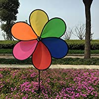 Amrka Decorative Windmills for the Yard Colourful Rainbow Flower Spinner Wind Outdoor Decor Toy Game for Children Adult