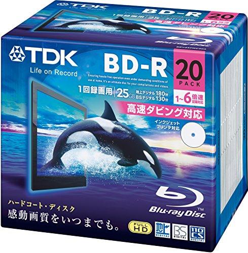 TDK 録画用ブルーレイディスク BD-R 25GB 1-6速 ホワイトワイドプリンタブル 20枚パック 5mmスリムケース BRV25PWC20A