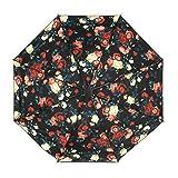 oenbopo 折り畳み傘 柄付き 晴雨兼用 2重構造 UVカット日傘 8本骨 耐強風 撥水 雨傘 65cm 軽量 携帯便利 梅雨対策  (薔薇)