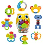 Teether Rattle Set Baby Toy - Earsoon SLE84822 8pcs Latest Rattle & Teether Toys with Adorable Color in Owl Bottle...