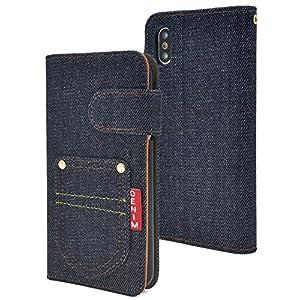 PLATA iPhone X ケース 手帳型 デニム デザイン ポケット カバー ジーンズ アイフォンX iPhoneX IPX-5050-A