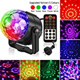 Party Light, Splaks Sound Activated 5 Colour 18 Modes Disco Light Remote Control Rotating Stage Light Strobe Lamp Ball Light with Light Stand for Home Room Dance Parties, Bar Karaoke, Xmas Party, Wedding Show Club
