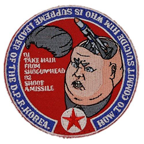 キムジョンウン 核爆弾 刺繍 ベルクロワッペン パッチ A0052 (円形)