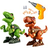 BESOO Take Apart Dinosaur Toy with Electric Drill, 2 Pack Dino Set Kids Learning Toys Include T-Rex and Velociraptor DIY,STEM