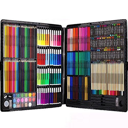 258本超大型文房具絵具セット(色鉛筆、水彩絵具、クレヨン、固形水彩) 子供、絵初心者向け設計し