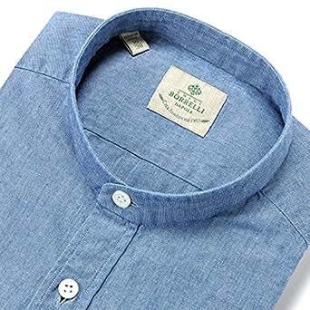 (ルイジ・ボレリ) LUIGI BORRELLI 製品洗いバンドカラーシャツ「ADAM」 (ライトインディゴブルー/無地シャンブレー) 42