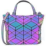 2020 Women Geometric Luminous Handbags Shopping Bag Laser Reflective Tote Bags