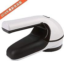 【Newiy Start】毛玉取り機 電動 コンセント&充電式 強力6枚刃 毛玉カット とるとる 安全設置付き 静音 軽量 毛玉クリーナー【ホワイト×ブラウン】
