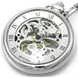 [ブラウン]BROWN 懐中時計 メカニカル ポケットウォッチ 両面スケルトン 925J-SVSV メンズ