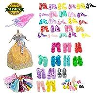 ランダム人形用 手作り バービー用服 とアクセサリー ドール用 きせかえ【ワンピース5枚+ウエディングドレス1枚+靴40対+ミニ傘1枚】