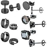 TOPBRIGHT 6 Pairs Stainless Steel Stud Earrings Hoop Earrings Set for Men Women Huggie Hoop Ear Piercing