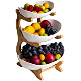 3 Tier Fruit Snack Stand, Three Ceramics Bowls Set with Wood Rack, Candy and Nut Server Display Stand, for Dessert Appetizer