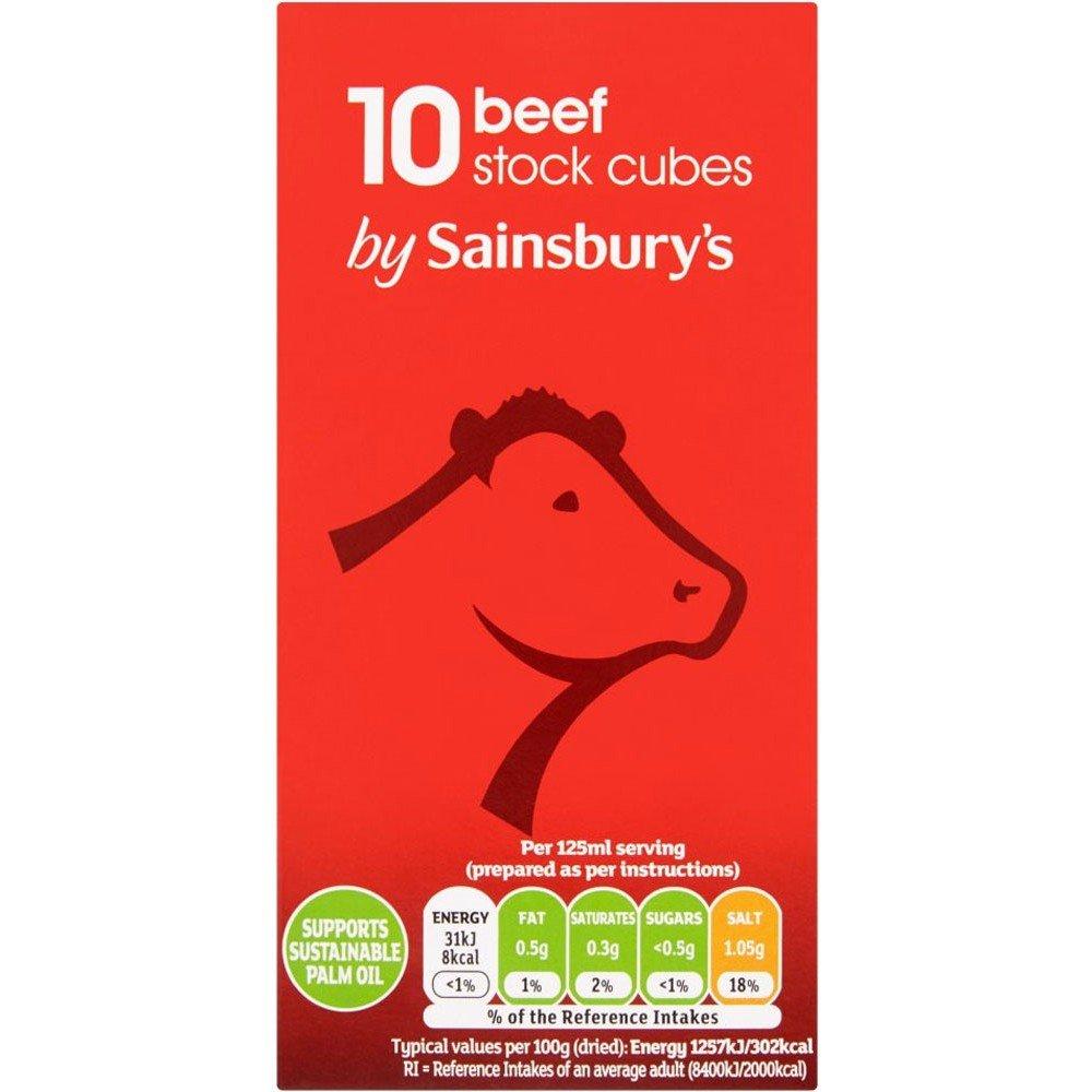 セインズベリー 在庫キューブ、牛肉10X10G x2 - Sainsbury's Stock Cubes, Beef 10x10g Pack of 2