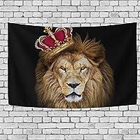 welllee 60x 40インチ壁タペストリー–大きなAfrican Lion King寮Throw Hanging玄関寝室リビングルーム装飾ウィンドウカーテン 90x60(in) g926030p125c139s206