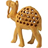 """Fortune Charm - 4.1"""" Camel Figurine - Hand-Carved Wood Animal Figurines of an Egyptian Mother Camel Statue - Decorative Anima"""