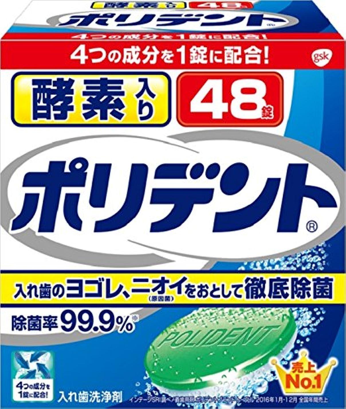 銃調整可能かご入れ歯洗浄剤 酵素入り ポリデント 48錠