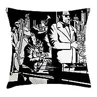新しいYorkスロー枕クッションカバー、ジャズコンサートバンドPlaying Saxophone double-bassトランペットとキーボードat Night、装飾正方形アクセント枕ケース、18x 18インチ、ブラックとホワイト