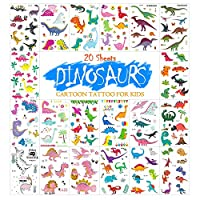 20シート子供のための恐竜恐竜一時的な入れ墨子供のための取り外し可能なステッカータトゥー子供の入れ墨パーフェクトパーティーバッグフィラー(恐竜)