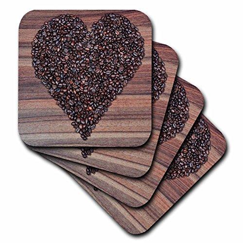 3dローズFlorene食品および飲料–イメージのCoffee Beans In Shape of a Heart On Wood–コースター set-of-4-Soft cst_234710_1