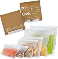 Reusable Storage Bags - 6 Pack Pine Beach (2 Large Litre Bags, 2 Sandwich Bags, 2 Snack Bags) Safe Ziplock Leakproof...