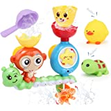 Sotodik Baby Bath Toys Bathtub Shower Swimming Water Toys Playsets with Monkey Waterfall Station and 2PCS Float Squirt Sound