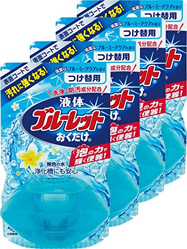 【まとめ買い】液体ブルーレットおくだけ トイレタンク芳香洗浄剤 詰め替え用 清潔なブルーミーアクアの香り 70ml×4個