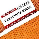 Brotree 4mm パラコード 30m テント ロープ 7芯 パラシュートコード 耐荷重250kg ガイロープ ミルスペック規格 アウトドア キャンプ サバイバル 吹雪強風対策固定 用ひも オレンジ