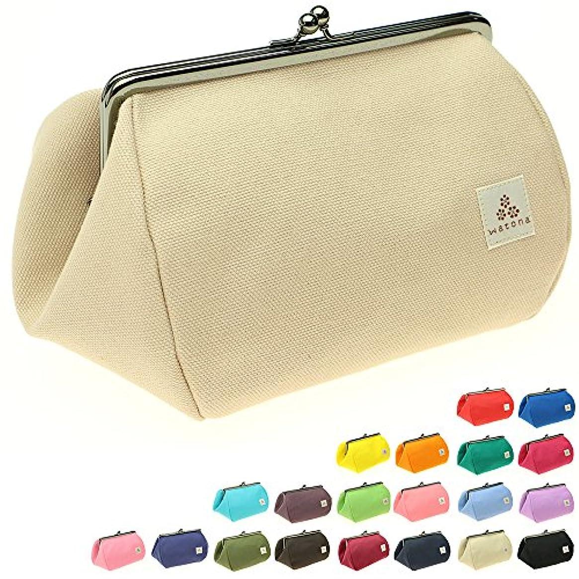 試すたとえいまwatona 帆布がま口 【大容量】化粧ポーチ 5.5寸 取り外し可能インナー仕切りポケット付き (アイボリー)