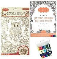 アートセラピーEnchanted Garden Coloring Book–TropicanaトロピカルカラーリングページPosters and 12カラーFactory Fine TipマーカーLiving in Colorバンドル