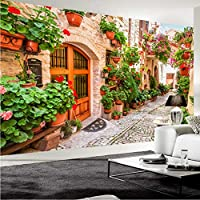 Xbwy 3D壁紙ヨーロッパスタイル街の通り花パス風景写真壁の壁画カフェレストランリビングルームの背景壁の装飾-250X175Cm
