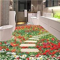Lcymt カスタム3D壁画壁紙花花小さな道浴室キッチン寝室の床ステッカーPvc自己接着壁紙家の装飾-350X341Cm
