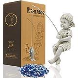 LIMEIDE Fisherboy Garden Statue,Boy Fisherman Figurine Sculpture,Outdoor Yard Lawn Pool Pond Fishing Ornament,11 Inch