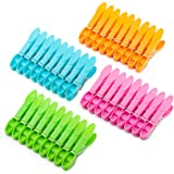 Colorful Plastic Clothespins, Heavy Duty Laundry Clothes Pins Clips with Springs, 4 Colors Clothes Drying Line Pegs for Kitch