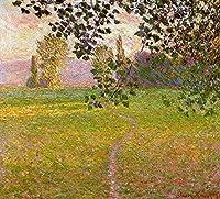 手描き-キャンバスの油絵 - Morning 風景画 Giverny クロード・モネ 芸術 作品 洋画 ウォールアートデコレーション FCM5 -サイズ14