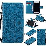 iPhone 8 ケース、 Dfly 高品質 PU 革 を エンボスマンダラ花デザイン 財布型 スタンド機能 ウルトラスリム フリップ マグネット吸着 ケース Apple iPhone 8 (2017)、 ブルー