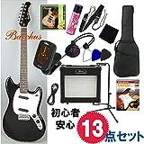 バッカス・エレキギター入門13点セット|Bacchus BMS-1R BLK ムスタング 女性・初心者にオススメ (BLK/ブラック)