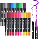 ZSCM 32 Colors Dual Tip Brush Pens Art Markers Set, Fine and Brush Tip Colored Dual Pen for Kid Adult Coloring Book Drawing B