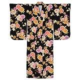 ジュニア女の子 着物単品 黒 桜と小槌 身長140~150