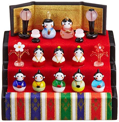 かわいい おひなさま 手作り ガラス細工 春の豆雛 三段飾り...