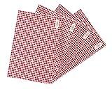 wellhouse ランチョンマット 綿 麻 大きい 60x40cm チェック柄 布 食卓マット 4枚セット (レッド L)