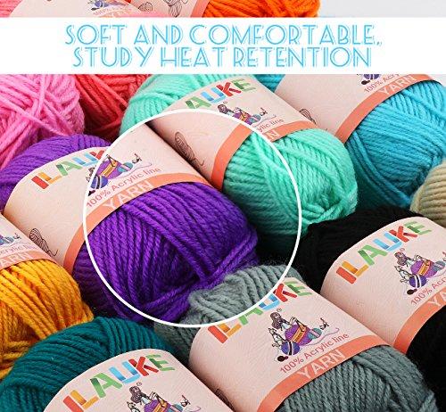 ilauke 各50g 約100m/玉 アクリル毛糸 12色セット 編み針2個付き 編み糸 手編み 手作り かぎ針付き 編みぐるみ インテリア 小物作り
